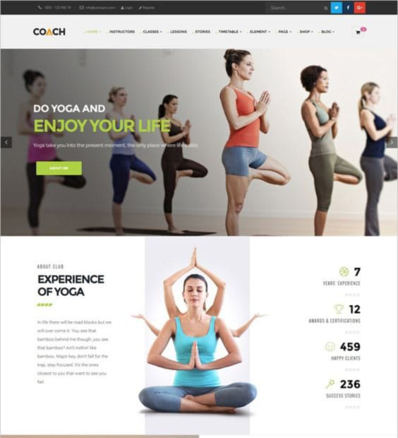 Tema Wordpress Coach para gimnasios